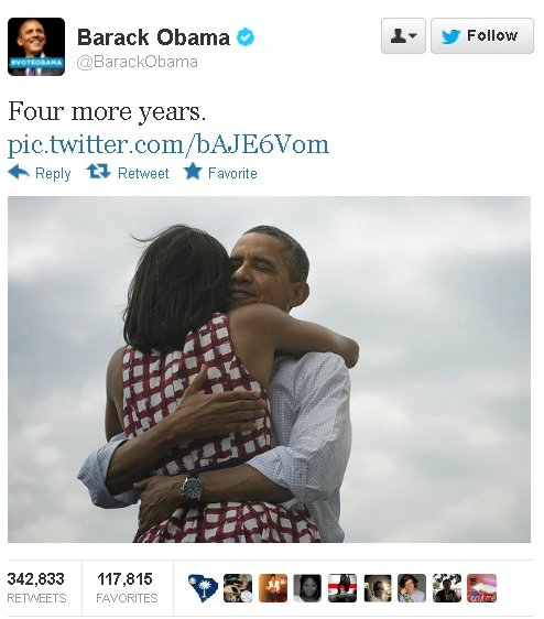 "Obama tweets ""4 more years"""