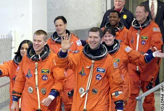 Columbia crew: Rick Husband, Kalpana Chawla, William McCool,  Ilan Ramon, Laurel Clark, Michael Anderson, and David Brown