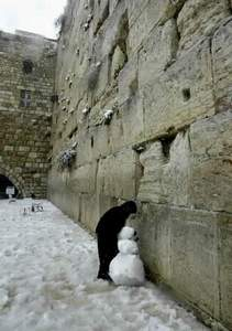 A snowman at the Kotel